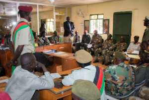 The verdicts for 10 South Sudanese soldiers are announced at the military court in Juba, South Sudan. They were found guilty for their role in a hotel attack in which five foreign aid workers were gang-raped and a journalist was killed..  By Akuot CHOL (AFP)