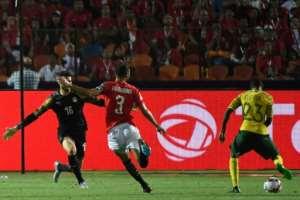 Thembinkosi Lorch scores the goal that shocked Egypt.  By Khaled DESOUKI (AFP/File)