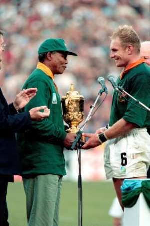 Then South Africa president Nelson Mandela wore a Springboks jersey to the 1995 World Cup final in Johannesburg.  By JEAN-PIERRE MULLER (AFP)