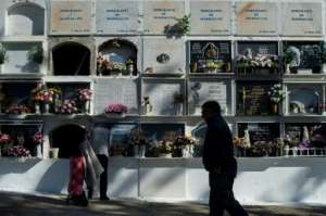 There are rows of tombstones in Tarifa where unnamed migrants are buried.  By JORGE GUERRERO (AFP)