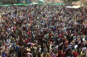 There has been an often festive mood among the tens of thousands of protesters who have gathered daily outside the army headquarters, which also houses the residence of President Omar al-Bashir.  By - (AFP)