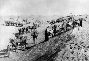 This archive photo from the 1860s shows Egyptian labourers digging out the canal, a project which involved about a million Egyptians, and cost tens of thousands of lives according to some estimates.  By - (AFP/File)