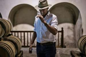Time for a taste: Winemaker Anthony Hamilton Russell samples a young Chardonnay maturing in his barrels.  By MARCO LONGARI (AFP)