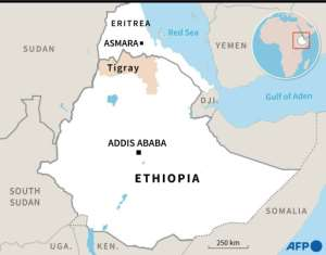 Map showing Eritrea, Ethiopia and the Tigray region..  By Aude GENET (AFP/File)