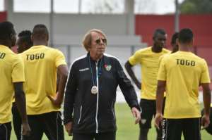 Togo's national football team head coach Claude Le Roy conducts a training session in Bitam, Gabon, during the 2017 Africa Cup of Nations, on January 18
