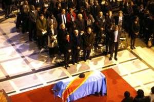 Tshisekedi's funeral took place in Brussels in February 2017.  By NICOLAS MAETERLINCK (Belga/AFP/File)