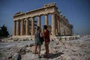 Tthe Acropolis in Athens was one of a number of famous landmarks reopened.  By Aris MESSINIS (AFP)