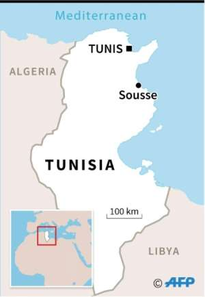 Map of Tunisia locating the coastal city of Sousee where a knife attack on Sunday killed a Tunisian National Guard officer and wounded another with three assailants also killed..  By  (AFP)