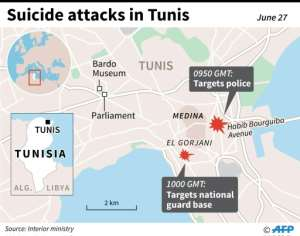 Map locating two attacks on police and a national guard base in Tunis on June 27.  By  (AFP)