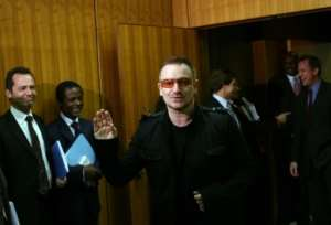 U2 frontman Bono visits the United Nations in 2008.  By Michael Nagle (Getty Images North America/Getty Images/AFP/File)