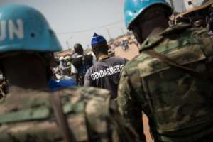 UN peacekeeping police on patrol in the Central African Republic in January 2020.  By FLORENT VERGNES (AFP/File)