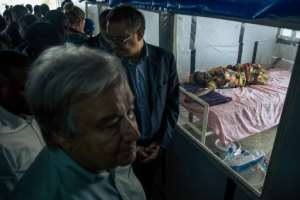 UN Secretary General Antonio Guterres visited an Ebola treatment centre in Mangina, North Kivu province, earlier this month.  By ALEXIS HUGUET (AFP/File)