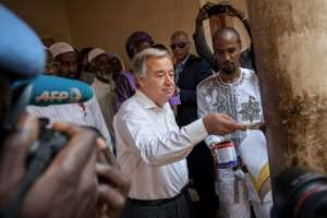 United Nations chief Antonio Guterres wraps up a four-day visit in Central African Republic, ahead of a Security Council decision on whether to renew the mandate of the UN's peacekeeping force.  By ALEXIS HUGUET (AFP)