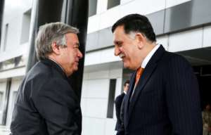 United Nations Secretary-General Antonio Guterres met unity government chief Fayez al-Sarraj in Tripoli as fears of a confrontation rose Libyan unity government Prime Minister Fayez al-Sarraj (R) shakes hands with United Nations Secretary General Antonio Guterres at his office in the Libyan capital Tripoli on April 4, 2019.. By - (AFP)