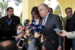 United Nations Secretary-General Antonio Guterres said he was leaving Libya with a 'heavy heart' after meeting with strongman Khalifa Haftar. By Abdullah DOMA (AFP)