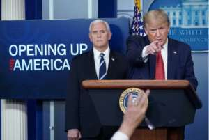US President Donald Trump, takes questions from journalist as he announces plans to reopen the US economy.  By MANDEL NGAN (AFP)