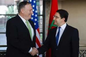 US Secretary of State Mike Pompeo is welcomed by Morocco's Foreign Minister Nasser Bourita.  By - (AFP)