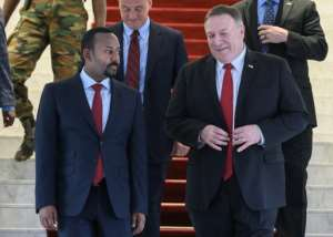 US Secretary of State Mike Pompeo (R) and Ethiopian Prime Minister Abiy Ahmed discussed Ethiopia's upcoming elections.  By ANDREW CABALLERO-REYNOLDS (POOL/AFP)
