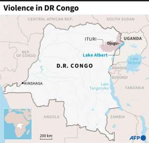 Map locating region of Ituri, in the east of the Democratic Republic of Congo.  By Romain ALLIMANT (AFP)