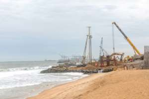 Villagers living along Togo's shoreline say construction of a new deep water port in Lome has stept up the pace of the coastal erosion.  By YANICK FOLLY (AFP)