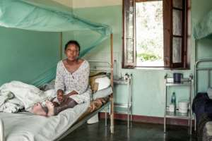 Vololonirina Ranorovelo developed leprosy symptoms more than 10 years ago. Even though leprosy is not very contagious, she will never be able to return to her village because her family and friends will reject her