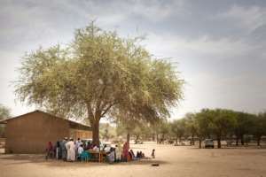 Waiting for the jab: A measles vaccine drive at Agang in the Ouaddai highlands of eastern Chad.  By Amaury HAUCHARD (AFP)