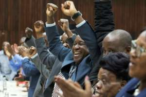 War veteran's leader Christopher Mutsvangwa celebrating at the weekend when the ruling ZANU-PF party sacked Robert Mugabe as its leader just days before his resignation