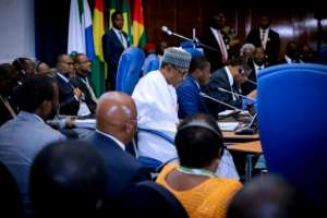 West African leaders gathered in Abuja to discuss the political crisis in Guinea-Bissau.  By SUNDAY AGHAEZE (Nigerian Presidency/AFP)