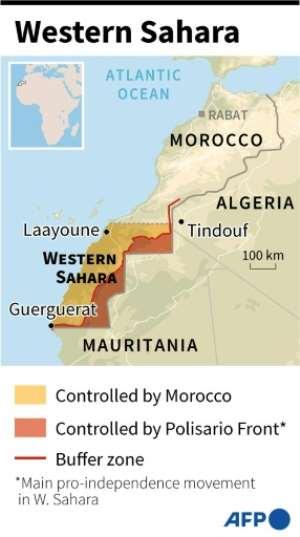 Map of Western Sahara.  By Adrian LEUNG (AFP)