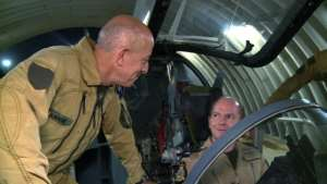 Wigston and French counterpart General Philippe Lavigne in the cockpit of a French Mirage 2000 at France's base in N'Djamena, Chad.  By Guillaume BONNET (AFP)