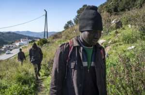 With Moroccan authorities detaining migrants, the boys hide out in the forest a few kilometres from Ceuta on Morocco's northern coast.  By FADEL SENNA (AFP)