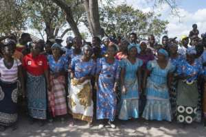 Women sang and danced to welcome Guterres on his visit.  By WIKUS DE WET (AFP)