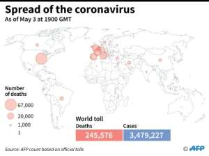 World map showing official number of coronavirus deaths per country, as of May 31 at 1900 GMT.  By Simon MALFATTO (AFP)