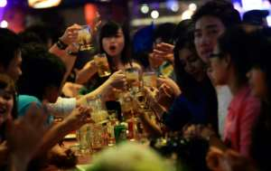 Worldwide, 45 percent of recorded booze consumption is in the form of spirits such as grain alcohol. Another 15 percent is beer, and 12 percent is wine. By HOANG DINH NAM (AFP/File)