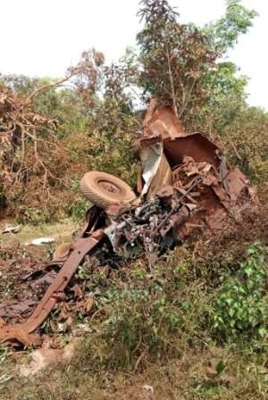 Wreckage of an army truck that struck a roadside bomb near Fada N'gourma, eastern Burkina Faso, on August 28. Seven members of the security forces were killed.  By  (BURKINA FASO'S ARMY PRESS OFFICE/AFP)