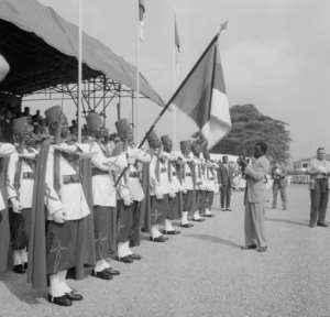 Yaounde, January 1 1960: A military salute as Cameroon gains independence from France.  By  (AFP/File)