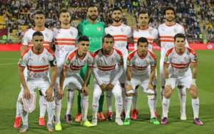 Zamalek line up before defeating Esperance in the 2020 CAF Super Cup match in Qatar.  By KARIM JAAFAR (AFP/File)