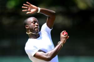 Zimbabwe lost opener Solomon Mire in the fourth over of the day at Queens Sports Club when he edged behind off Kemar Roach (pictured)