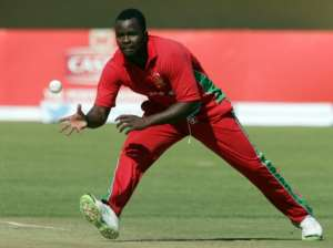 Zimbabwe's bowler Brian Vitori in action during the second cricket match of a three-match series of One Day Internationals (ODI) between between Zimbabwe and South Africa at the Queens Sports Club in Bulawayo, on August 19, 2014.  By JEKESAI NJIKIZANA (AFP/File)