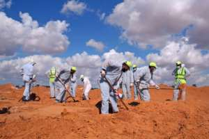 A mass graves in Tarhuna, southeast of the capital Tripoli, where officials say that so far 115 bodies have been unearthed.  By Mahmud TURKIA (AFP/File)