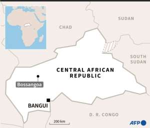 A map of Central African Republic locating the town of Bossangoa, seized by pro-government forces..  By  (AFP)