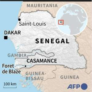 A map of Senegal locating the region of Casamance.  By Tupac POINTU (AFP)