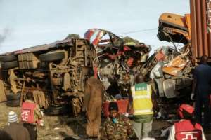 A bus travelling from Busia, in western Kenya, collided with a truck coming from Nakuru town, killing 36 people.  By STR (AFP)