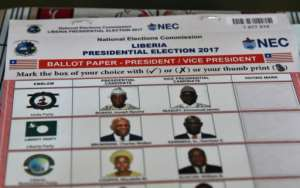 A ballot paper for Liberia's election to replace Liberian President Ellen Johnson Sirleaf