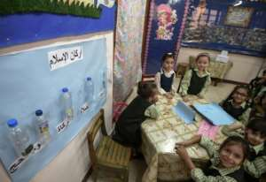 A classroom at the Mahaba school, where 3,000 pupils are educated, despite many of their parents being unable to afford fees.  By Mohamed el-Shahed (AFP)