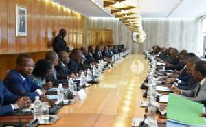 A council meeting of Ivorian President Alassane Ouattara's government on July 11 at the presidential palace in Abidjan.  By SIA KAMBOU (AFP)