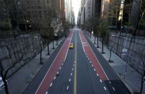 A deserted 42nd Street is seen in midtown New York in April.  By TIMOTHY A. CLARY (AFP/File)