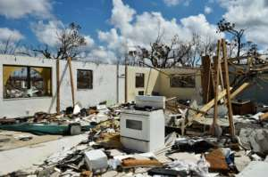 A destroyed home is seen at Freeport on Grand Bahama island on September 10, 2019 after the passing of Hurricane Dorian.  By Leila MACOR (AFP/File)