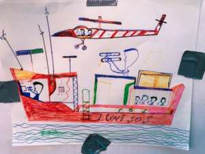A drawing by a rescued migrant.  By Anne CHAON (AFP/File)