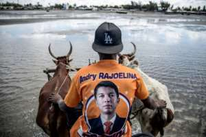 A driver of an oxen-pulled cart wears a t-shirt of the Madagascar presidential candidate Andry Rajoelina while ferrying tourists from the boat into the port in Tulear, on November 4, 2018.  By MARCO LONGARI (AFP)